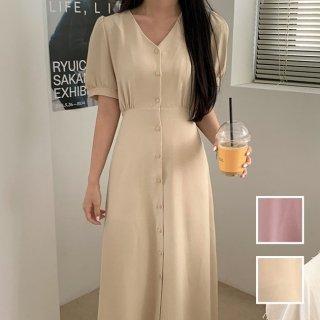 韓国 ファッション ワンピース 夏 春 カジュアル PTXI478  ノーカラー Vネック パフスリーブ フレア オルチャン シンプル 定番 セレカジ