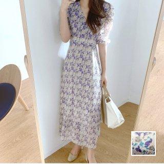韓国 ファッション ワンピース 夏 春 カジュアル PTXI491  シアー シフォン風 ハイウエスト エレガント オルチャン シンプル 定番 セレカジ