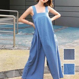 韓国 ファッション オールインワン オーバーオール 夏 春 秋 カジュアル PTXI665  タック ワイドパンツ アシメ チューブワンピ風 オルチャン シンプル 定番 セレカジ
