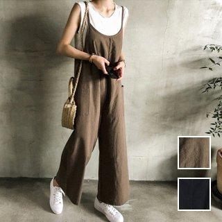 韓国 ファッション オールインワン オーバーオール 夏 春 秋 カジュアル PTXI712  コットンリネン風 ゆったり ラフ シンプル オルチャン シンプル 定番 セレカジ