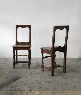 19c French oak chair 2set