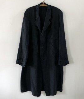 France vintage indigo linen atelier coat