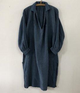 France vintage indigo linen smock