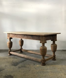 French Solid Oak Display Table