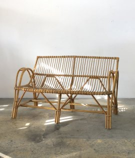 French Vintage Rattan Bench
