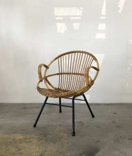 French Vintage Rattan Arm Chair