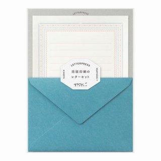 【MIDORI】レターセット  活版 フレーム柄 青
