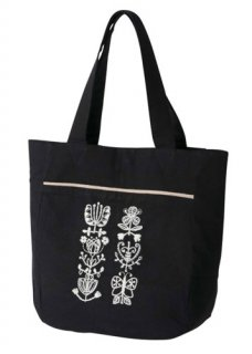 【People Tree】手刺繍ジュートコットンバッグ (ブラック系)