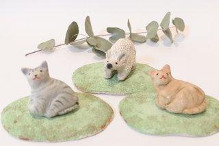 動物の置物 芝生付 - 北村陶房 -