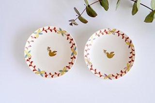 白地 鳥豆皿 / 2種 - 佐々木 恵 -