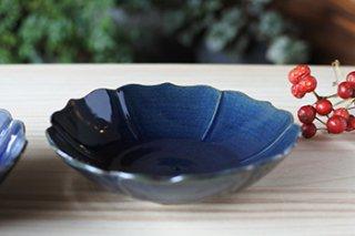 ルリ釉 輪花小鉢 (山本たろう)