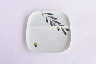 仕切り皿 / オリーブ /  - 陶房 青 -