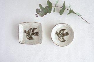 小皿 2種 / 鳥象嵌 - マノメ タカヒロ -