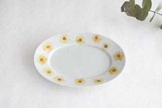 だ円皿 / 黄色花  - ななかまど -