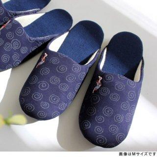 藍染ソフトスリッパ 阿波踊り刺繍入り MサイズLサイズ(価格はMサイズのものです)