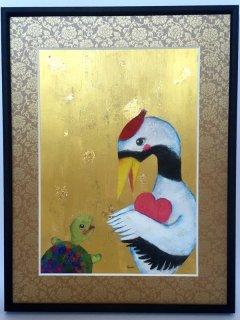 絵本作家あきばたまみさんデザイン『鶴と亀』