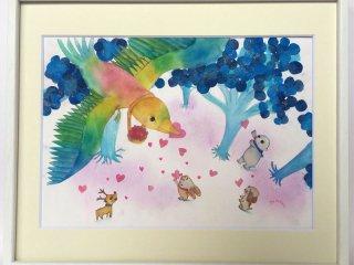 絵本作家あきばたまみさんデザイン『虹色鳥のおくりもの』