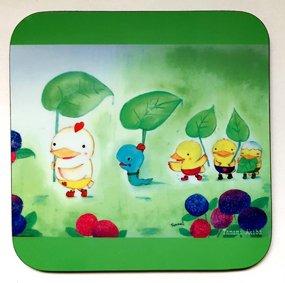 「ぴよ家族雨ふり行進」 コースター
