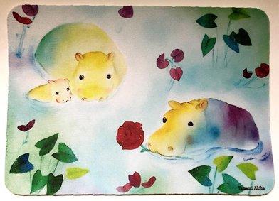 「カバの親子」 マウスパッド