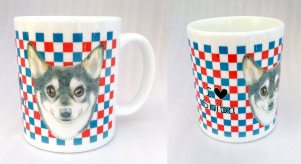 「柴犬 市松模様」 マグカップ