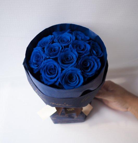 【ダーズンローズ12本】枯れない花、青いブルーのバラ置ける花束(プリザーブトフラワー)