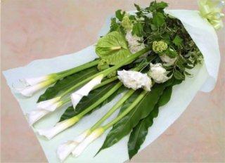 白とグリーンのラインのある花束