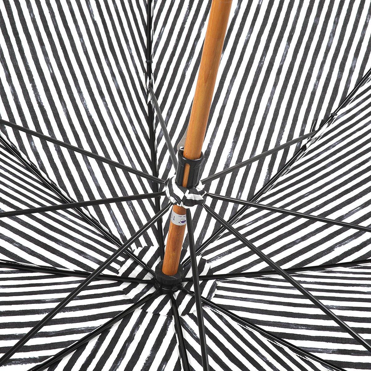 【晴雨兼用傘】レディース 手書き風 ストライプ柄 長傘 詳細画像6