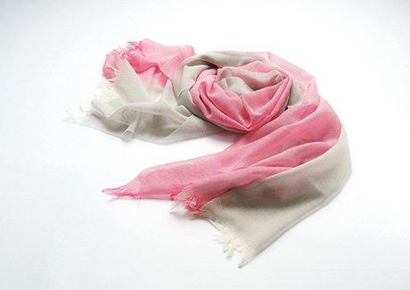 富士桜工房 無縫製二重織ウールガーゼ ストールKASANE 薄花桜