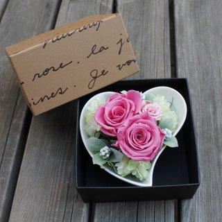 ハートのプリザーブド【ピンク・BOX付】