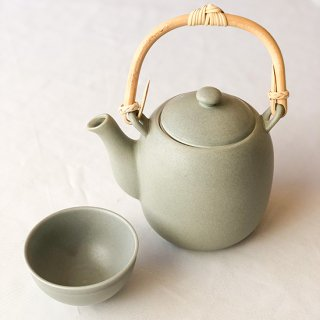 茶器セット グレー(湯瓶/煎茶碗2個)