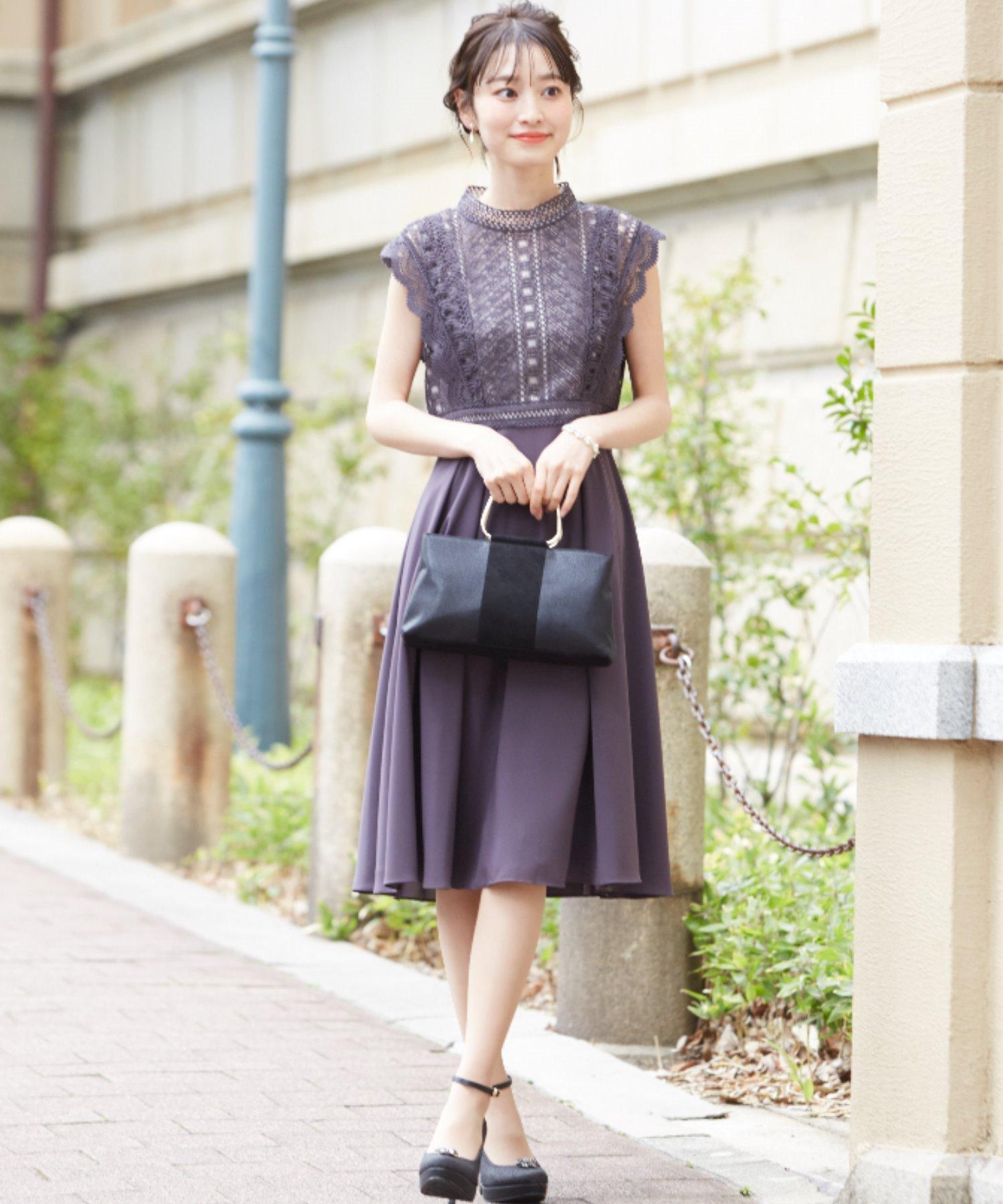 【Sweet 12月号掲載!!】幾何学レース切り替えシフォンフレアースカートドレス