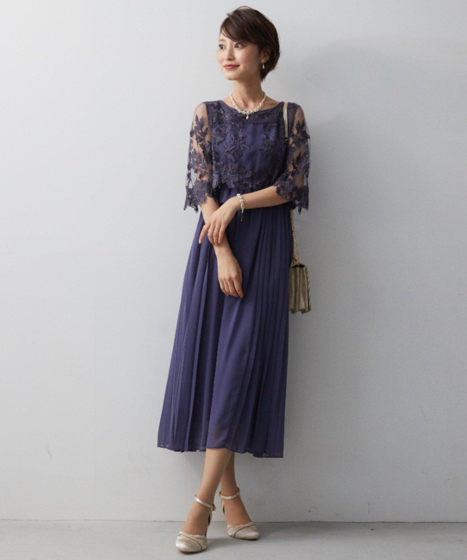袖付き刺繍レースふらし サイドプリーツスカートワンピースドレス