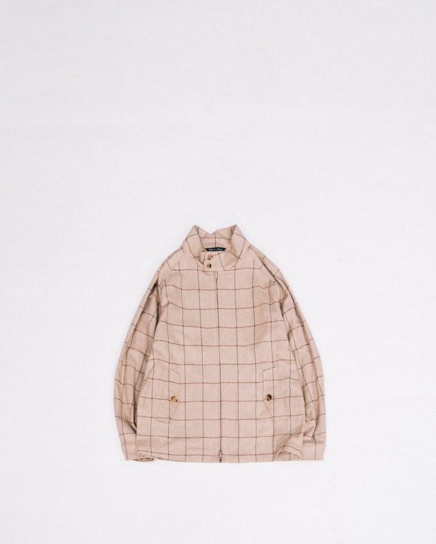 【INVERTERE】GOLF JACKET / WINDOW PANE(NAVY×BROWN)- SILK COTTON
