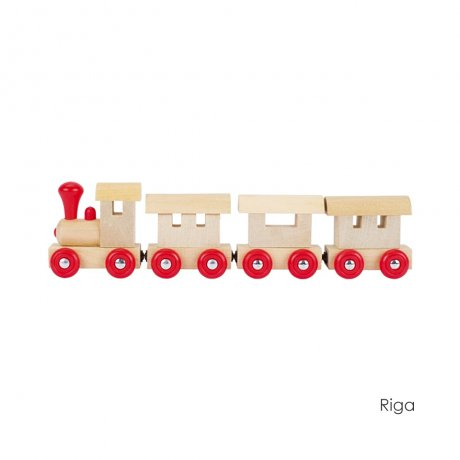 goki / Train I-IV, Riga, Dublin, Prag, Kiew,with magnetic couplings / 木のおもちゃ 列車 / 55995