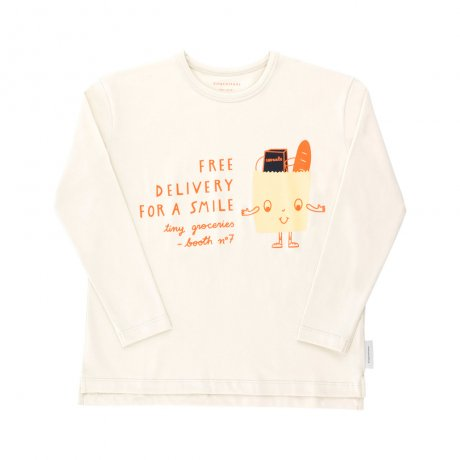 tinycottons / friendly bag graphic tee / beige eggnog red