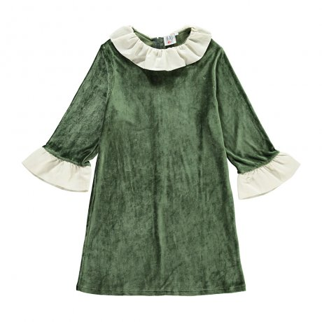 Beau Loves / Velvet Frill Neck Dress / Green