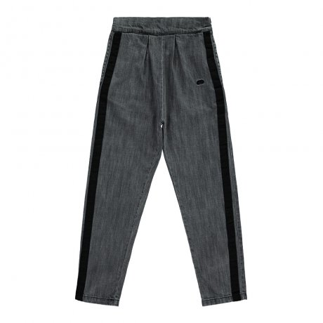 Beau Loves / Carrot Leg Pants / Stripe on Side / Grey Denim Washed