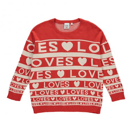 Beau Loves / Knit Sweater / Loves Stripes AOP / Red/Cream