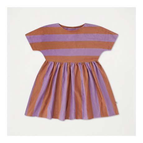 REPOSE AMS / RUFFLE DRESS / WARM EARTHY LILAC STRIPE
