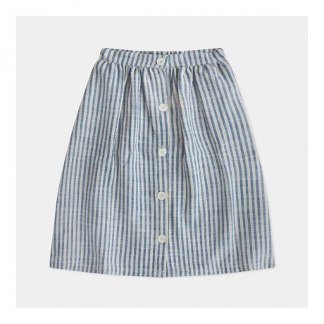 REPOSE AMS / BUTTON DOWN SKIRT / FADED SAND BLUE STRIPE