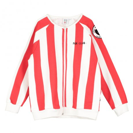 BEAU LOVES / Zip Jacket / Deck Chair Stripe / Ecru/Tomato Red