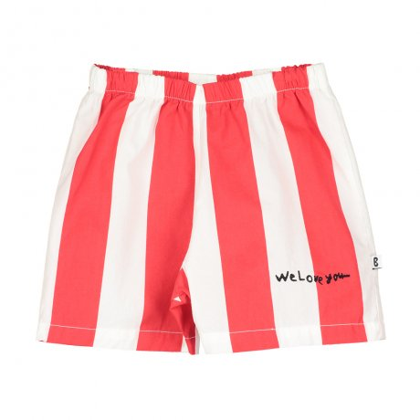BEAU LOVES / Baby Shorts / Deck Chair Stripe / Ecru/Tomato Red