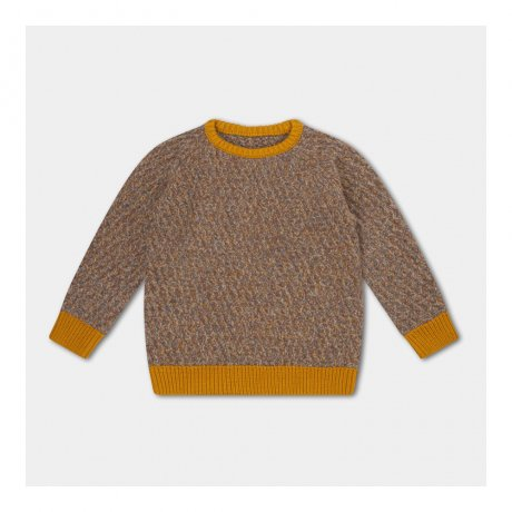 REPOSE AMS / KNITTED RAGLAN SWEATER / CONTRAST TWILL