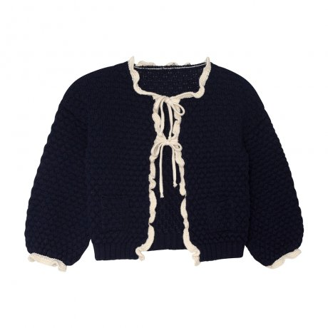 <img class='new_mark_img1' src='https://img.shop-pro.jp/img/new/icons8.gif' style='border:none;display:inline;margin:0px;padding:0px;width:auto;' />yellowpelota / Ruffle cardigan (Kid) / Navy and Natural / FW19-55.2-CP01