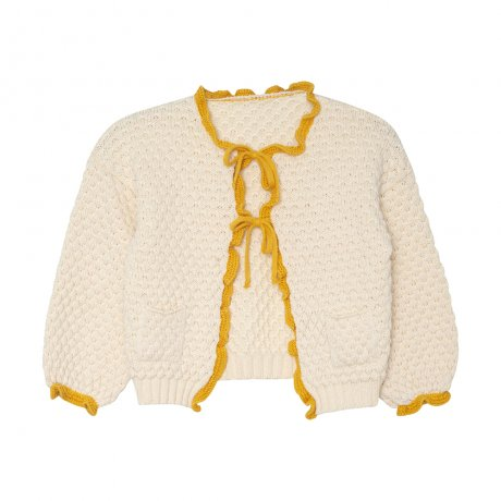 <img class='new_mark_img1' src='https://img.shop-pro.jp/img/new/icons8.gif' style='border:none;display:inline;margin:0px;padding:0px;width:auto;' />yellowpelota / Ruffle cardigan (Kid) / Natural and Mustard / FW19-55.1-CP01