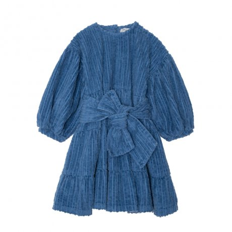 yellowpelota / Bow corduroy dress / Blue / FW19-47.1-VT25