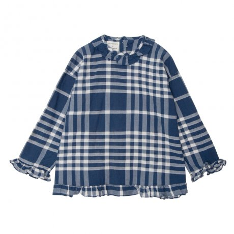 <img class='new_mark_img1' src='https://img.shop-pro.jp/img/new/icons8.gif' style='border:none;display:inline;margin:0px;padding:0px;width:auto;' />yellowpelota / Checks ruffled blouse / Blue / FW19-31.1-BL20