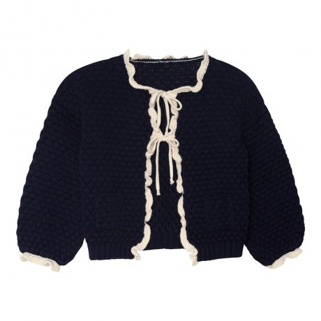 <img class='new_mark_img1' src='https://img.shop-pro.jp/img/new/icons8.gif' style='border:none;display:inline;margin:0px;padding:0px;width:auto;' />yellowpelota / Ruffle cardigan (Baby) / Navy and Natural / FW19-26.2-CP01