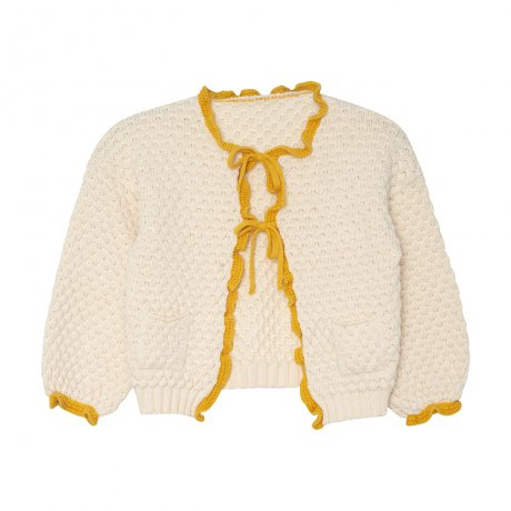 <img class='new_mark_img1' src='https://img.shop-pro.jp/img/new/icons8.gif' style='border:none;display:inline;margin:0px;padding:0px;width:auto;' />yellowpelota / Ruffle cardigan (Baby) / Natural and Mustard / FW19-26.1-CP01