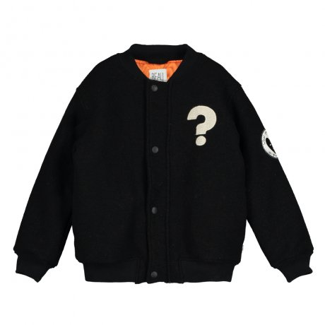 BEAU LOVES / Bomber Wool Jacket / Hero Mask / Black + Orange Lining